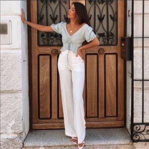 Zara Gold Button Wide Leg Pants